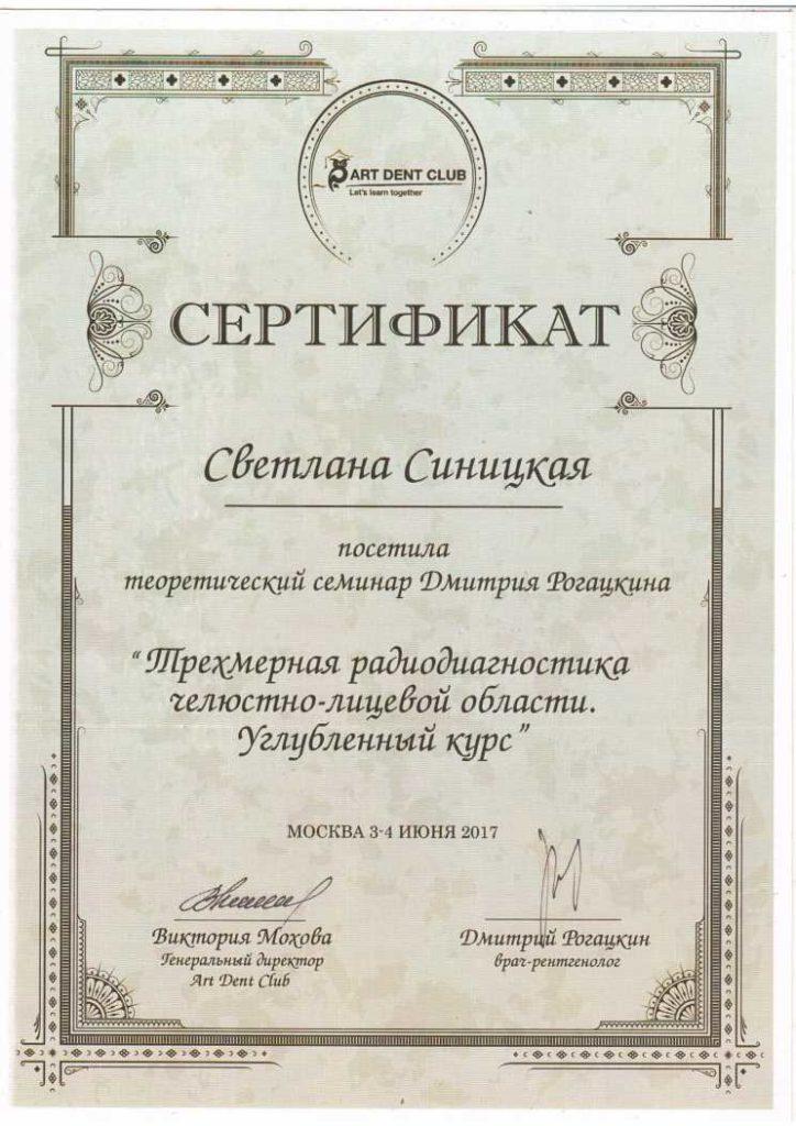 сертификаты и дипломы Синицкая